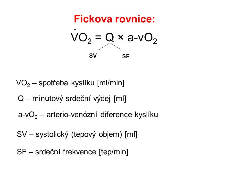 . VO2 = Q × a-vO2 Fickova rovnice: VO2 – spotřeba kyslíku [ml/min]
